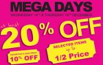 Mega Days - Wed 13th - 10% off Cosmetics & Electricals / Thur 14th - Selected Items Upto Half Price @ Menarys