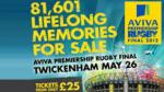 Half price tickets for Aviva Premiership Rugby Final 2012 (cheapest £12.50 + booking fee = £13.63)