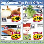 Current Food deals at Lidl Onions, Fresh British little Gem lettuces, 49p 2 Salmon fillets 2.39 and 1L Milbona Skimmed Milk 39p