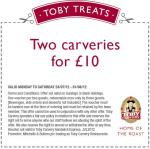 2 Toby Carveries for £10. Free dairy ice cream.