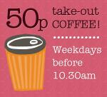 Any regular size takeaway coffee including mocha/syrups 50p at Giraffe before 10:30AM Mon-Fri