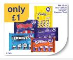 Cadbury Twirl Dairy milk Flakes Wispa Boost 4 pack of each £1 @ Nisa locally