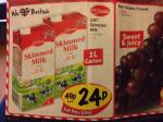 1 Litre UHT Skimmed Milk in LIDL Coming Sat and Sun only