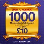 1,000 mins/texts/MB mix & match £10 bundle @ Vectone payg