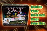 Large Tin 5 Game Casino Poker Set with Roulette Reduced to £5 instore @ QDStores