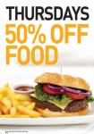 50% off food @ Yates every Thursday