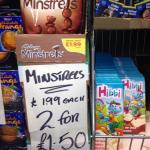 Galaxy minstrels 2 bags for 1.50 @ Amy's winehouse