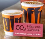 'Regular' Take out coffees are 50p until 10.30am every Wednesday @ Giraffe Restaurants