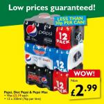 12 cans of pepsi or diet pepsi for 2.99 at poundstretcher