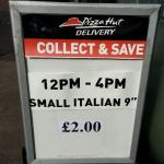 "Pizza hut 9"" for £2 Glasgow"