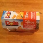 Dole fruit in juice (pineapple & mandarin) past best before date. 4 pack only £0.49 at poundstretcher
