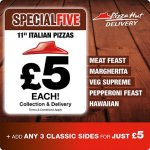 11'' Italian Pizzas 'Special Five' £5 each  @ Pizza Hut + Add 3 classic sides for £5