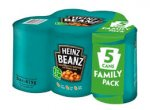 Heinz 5 pack beans £2 @poundstretcher instore