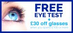 Free £15 eye test at Optical Express* Plus get £30 off £100 on glasses