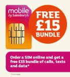 Order a free sim from Sainsburys and get a FREE £15 bundle (800 minutes, unlimited texts & 2GB of data & Double Nectar points!