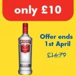 Smirnoff vodka £10 for 70cl until April 1st at one stop
