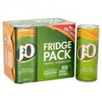 J2O Fridge Pack Orange &  Passion Fruit (6 x 250ml cans) £2.49 @ B&M