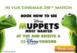 Free £5 voucher( possible per ticket) for Disney store when you buy a ticket to see Muppets Most Wanted @ Vue
