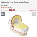 Mothercare Moses basket £22