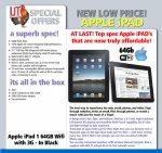 Apple iPad 1 64GB Wifi 3G - Black £159.95 + £6.99(delivery) ( Refurbished / Grade A2 | Warranty: 3 Months) = £166.94 @ IJT