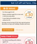1/3 off railway for 3 years! £70 16-25 olds only. @ Railcard