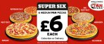 Pizza Hut Super Six - 6 Medium Pan Pizza for £6 each