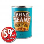 Heinz Baked Beans Smokey BBQ (390g) – now ONLY 2 for 99p! @ 99p Stores