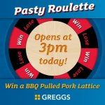 Win a BBQ Pulled Pork Lattice Pasty by playing the Pasty Roulette Game @ Greggs