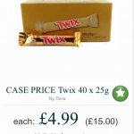 Box of 40 twix bars £4.99 + £5.25 p&p @ Approved Food (£10.24)
