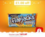 Enter 14Flap in the Shopitize App for Free Mcvities Milk Chocolate Hobnobs Flapjacks (170g) - £1 @ Asda...