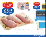 Fresh chicken breast 1KG for £5.49 @ Lidl - Starts on 14th Aug