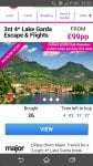 Lake Garda 3 night stay with 4* Hotel with flights and breakfast £99 per person when booking for 2 £198 @ Wowcher