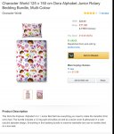 Dora 4 in 1 junior bedding deal £11.99 from amazon and sold by alsdiscounts