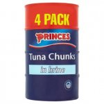 Princes Tuna Chunks in Brine 4x160g for £3 at Asda instore and online