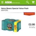 heinz baked beans 6pack £2 at asda