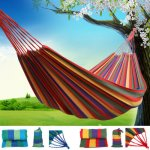 Canvas Outdoor Portable Camping Hammock Portable Travel Canvas Bed £4.99 + FREE delivery @ ebay/rainbow_store