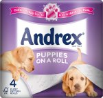 Andrex (Puppies on a Roll) Toilet Tissue (4 Pack) (WHITE) ONLY £1.69 @ Aldi