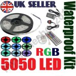 5M SMD 5050 RGB LED Strip Light + Power Supply Adapter+ IR Remote Waterproof Kit - Ebay / myonlineshop2013 - £9.89 - UK Shipping