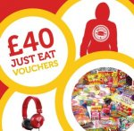 Win a £40 JUST EAT takeaway voucher, a pair of headphones, a personalised onesie and a massive hamper of sweets and chocolate