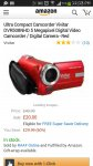 Ultra Compact Camcorder Vivitar DVR508NHD 5 Megapixel Digital Video Camcorder / Digital Camera - Red £20 @ Amazon