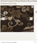 Oriental Carpets & Rugs Modena Brown/Beige Budget Rug - 55 cm x 90 cm (1 ft 9 in x 2 ft 11 in)  @ Tesco Direct (Sold by Wayfair)  - £9.48 Delivered