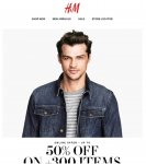 """3 days only - """"Get upto 50% off 300 selected items"""" @ H&M"""