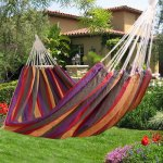 Outdoor Garden Back Yard Travel Camping Colour Stripe Hammock £9.99 delivered at ebay/ 2011homcom