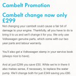 VW Cambelt Offer £299.00 @ Volkswagen
