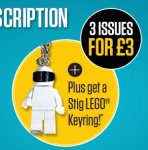 £3 for 3 issues of Top Gear magazine + FREE LEGO STIG KEYRING (if you continue subscription)