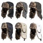 £1.93 + free del - MENS SHOWER PROOF WINTER WARM FAUX FUR TRIM RUSSIAN STYLE TRAPPER SKI HAT  @ FUNKYLICIOUS CLOTHING /  eBay