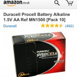Duracell batteries £2.98 @ amazon and sold by memorycapital.