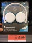 Goodmans Over-Ear Headphone with Bluetooth Streaming (White or Black) £9.99 @ Osmanton Park, Derby Sainsbury