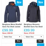 Berghaus bowfell gore-tex shell jackets womens £89.99 mens £99.99 at mandmsports delivered