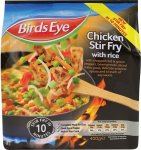 Birds Eye Chicken Stir Fry with Rice (400g) was £2.50 now £1.50. . (Cooked Rice (40%), Vegetables (36%), Seasoning, Cooked Chicken Breast (12%),). was £2.50 now £1.50 @ Sainsbury's
